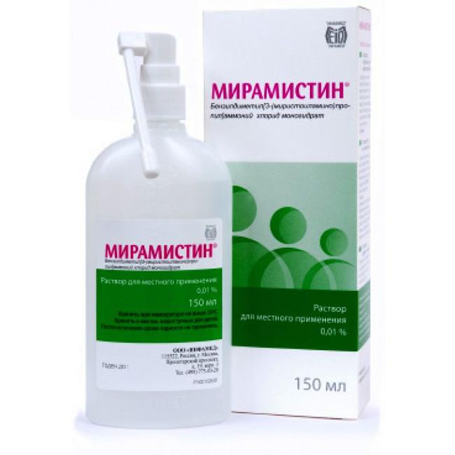 Мирамистин – универсальное лекарство широкого спектра действия, активный компонент бензилдиметил аммоний хлорид моногидрат. Препарат стали применять в начале 2000-гг.