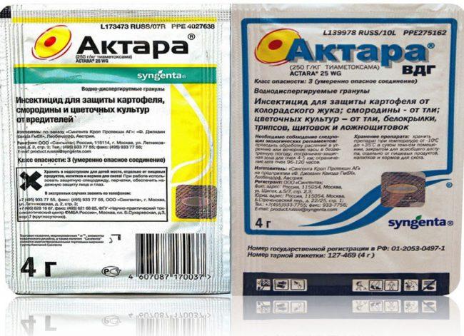 Препарат Актара растворяется в жидкости температурой более 25 градусов и не имеет выраженного запаха