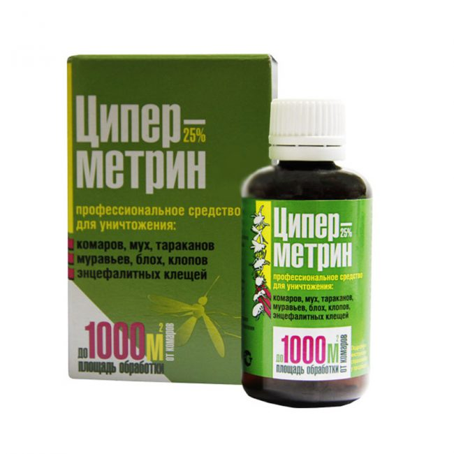 Циперметрин пПредставляет собой универсальный препарат, используемый для уничтожения большинства разновидностей насекомых