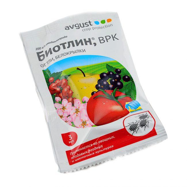Биотлин - системный препарат для уничтожения различных видов тли на плодовых, ягодных, овощных и цветочных культурах
